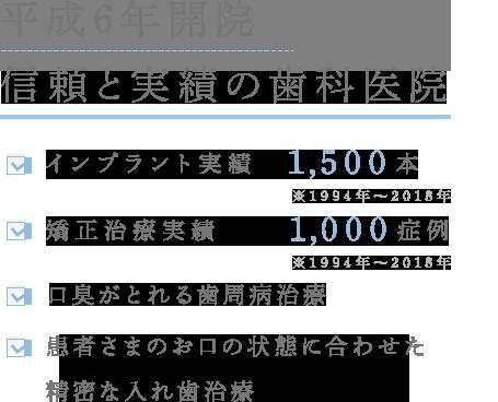 平成6年開院信頼と実績の歯科医院 インプラント実績 1,500本(※1994年~2018年) 矯正治療実績 1,000症例(※1994年~2018年) 口臭がとれる歯周病治療 患者さまのお口の状態に合わせた精密な入れ歯治療